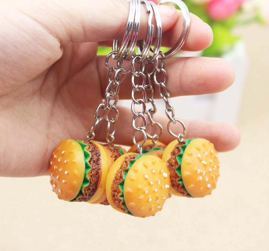 Cute Hamburger Keychain Party Thank You Favors Souvenirs Gifts For Guests Kids Birthday Gift Ideas
