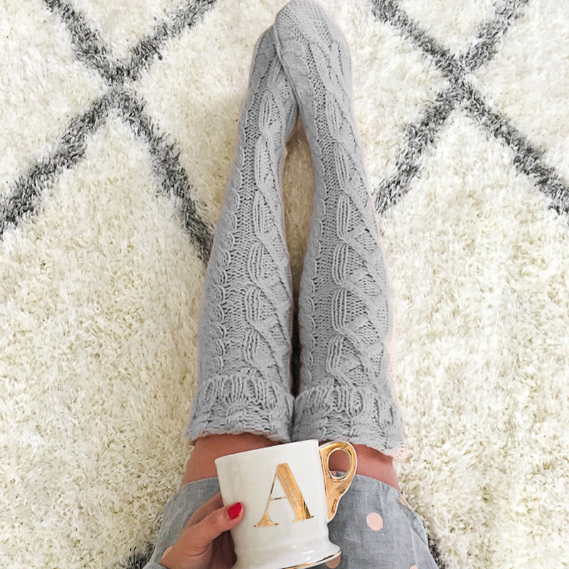 Women Winter Warm Cable Knit Over Knee Long Boot Thigh-High  Sockings Knee Length Cotton Cloth