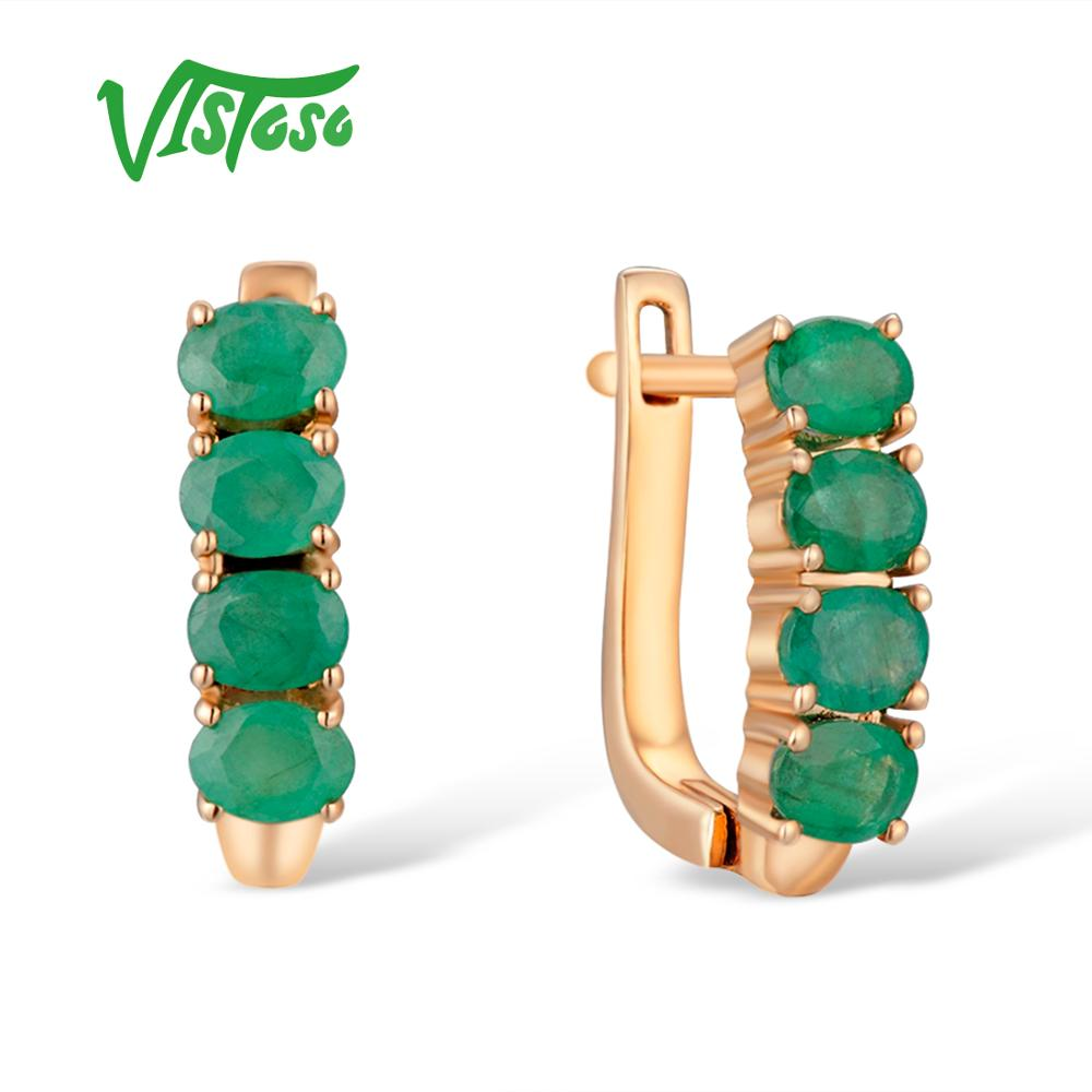 VISTOSO Gold Earrings For Women 14K 585 Rose Gold Glamorous Elegant Emerald Stunning Luxury Stud Earrings