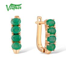 VISTOSO Gold Earrings For Women 14K 585 Rose Glamorous Elegant Emerald Stunning Luxury Stud Party Fine Jewelry