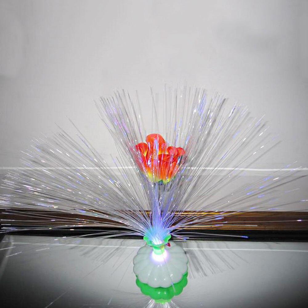 Светодиодный светодиодные лампы из оптического волокна цветок Роза Ваза ночник украшения красочные