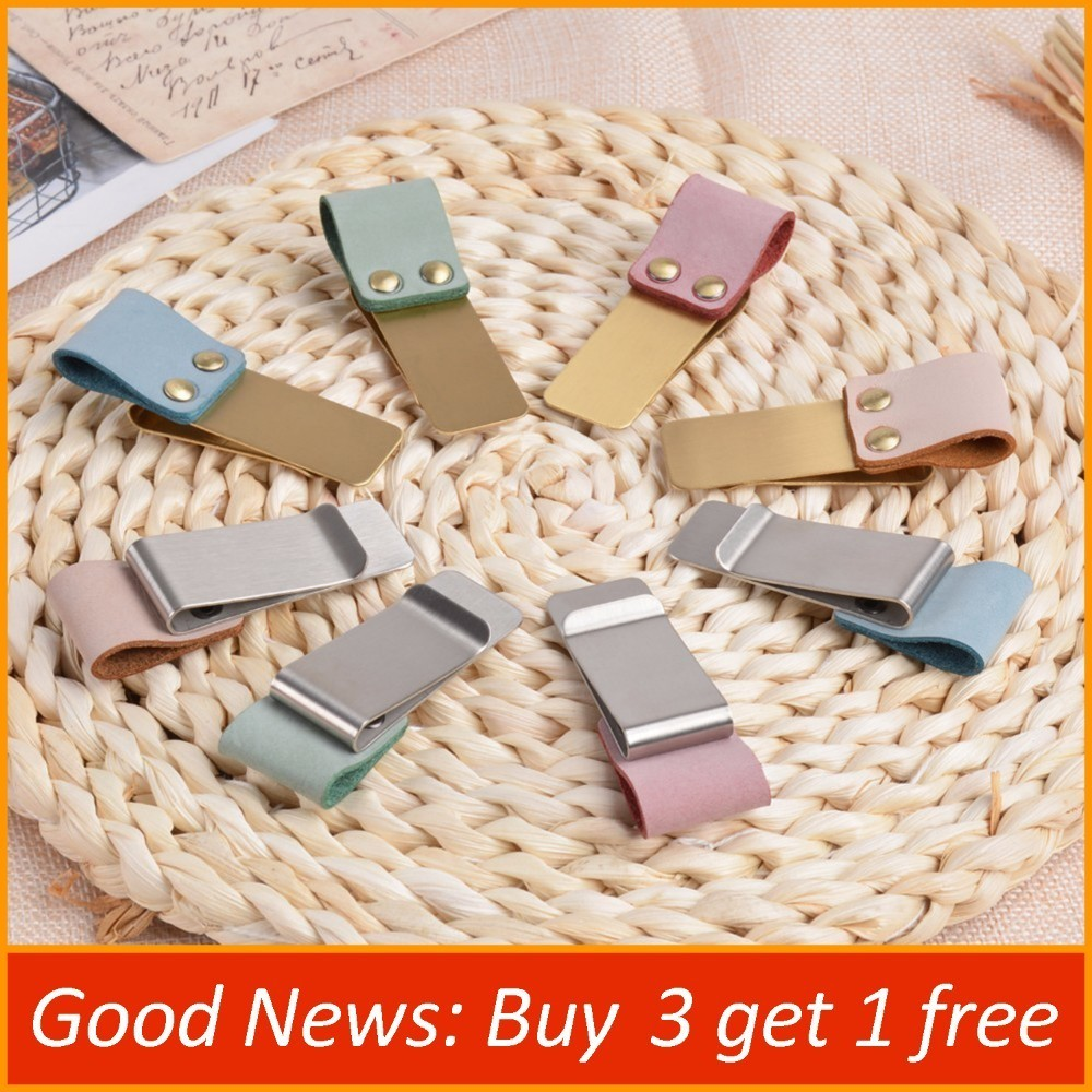 Handnote Metal Leather Pen Holder Clip Fog Wax Leather Brass And Stainless Steel Clip For Notebook Planner Accessory Stationery