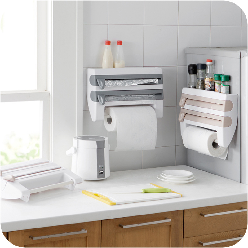 Wall Mounted Kitchen Racks Plastic Wrap Cutter Shelf Food Fresh Wrapper Storage Rack BBQ Aluminum Foil Towel Shelf