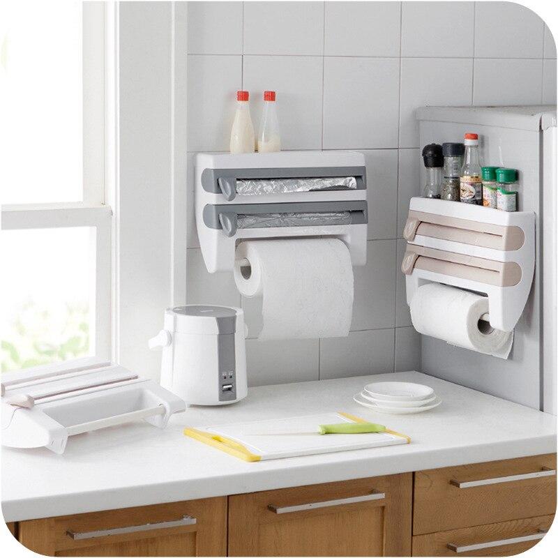 Wall Mounted Kitchen Racks Plastic Wrap Cutter Shelf Food Fresh Wrapper Storage Rack BBQ Aluminum Foil Towel Shelf