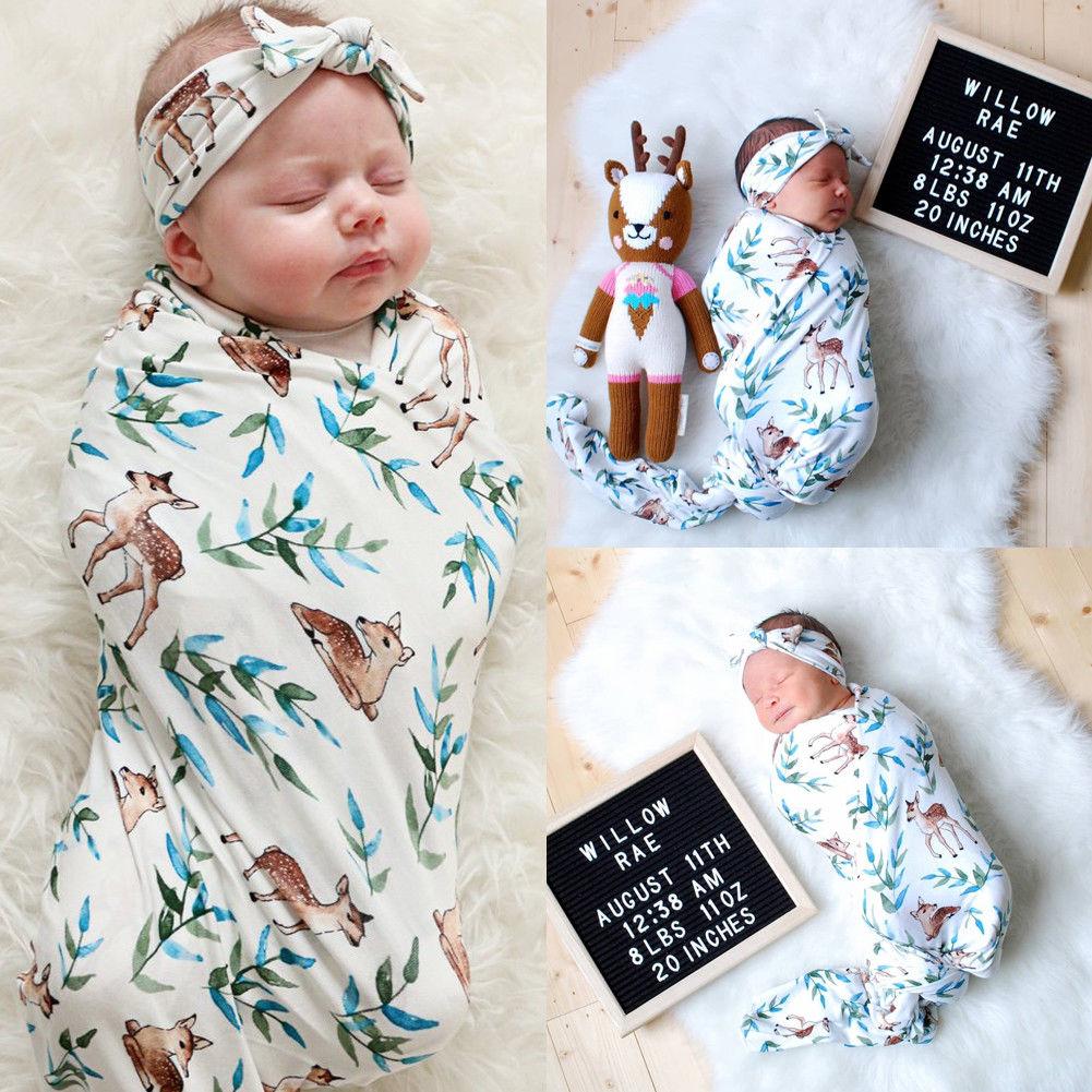 Baby Sleeping Bags Newborn Floral Sleepy Gown Knotted Romper Sleepwear Headband 0-6 Months 0-6 Months, Green