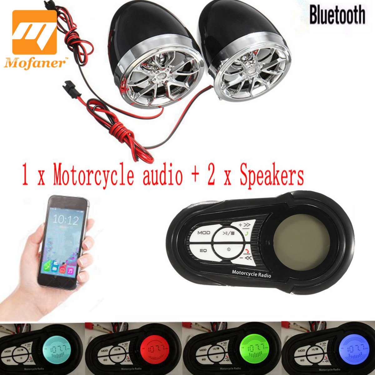 Mofaner Motorcycle Scooter Alarm Bluetooth Handfree Audio System FM Radio Stereo Amplifier Speaker Motorbike Anti-Mheft Device