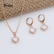 Irina Trendy Elegant 585 Gold-Color Jewelry Sets Cubic Zirconia Tiny Square Bridal Necklace Earrings Cubic Pendant For Women(China)