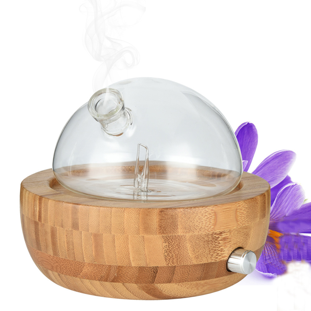 Bamboo Glass Essential Oil Nebulizer Aromatherapy Diffuser Humidifier 100 240V Low Noise Mist Control TIMER Control