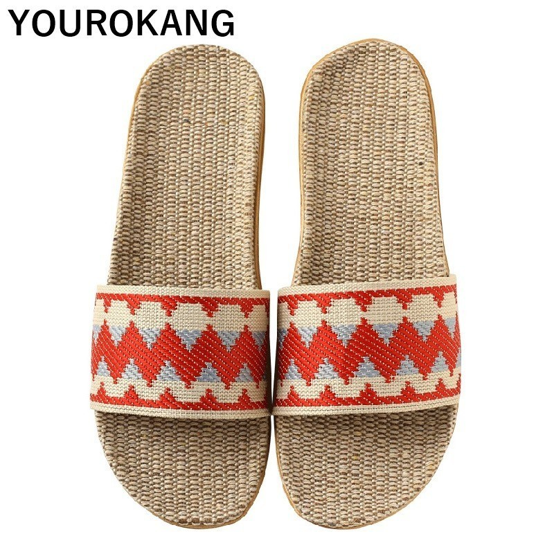 YOUROKANG Women Home Slippers Indoor Linen Slides Soft Lightweight Casual Couple Shoes Flax Flip Flops New Arrival ComfortableYOUROKANG Women Home Slippers Indoor Linen Slides Soft Lightweight Casual Couple Shoes Flax Flip Flops New Arrival Comfortable