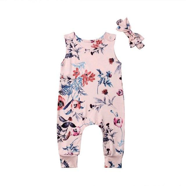 2 יחידות 2019 חמוד יילוד תינוקות תינוקת פרחוני Romper סרבל תלבושות בגדי סרט סט 0-24 m