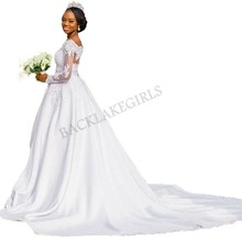 Lace V Neck Long Illusion Sleeves Court Train Wedding Dress
