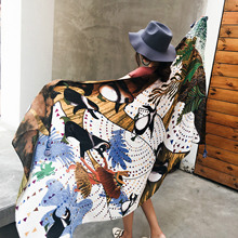 Women Oversized Large Scarf Summer Beach Sunscreen Oil Painting Print Scarves Cover Up Wraps National Ethnic Shawls Cape Female