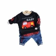 a42947a9219091 2019 Lente Baby Meisjes Jongens Kleding Past Cartoon Auto Katoenen T-shirt  jeans 2 stks/sets Baby Kleding Casual Kid Kinderen ko.