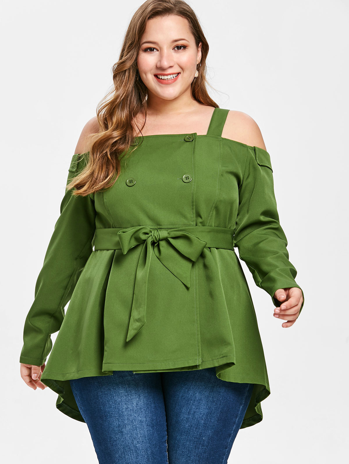 Detail Feedback Questions about Wipalo Women Plus Size Buttons Cold  Shoulder Blouse Casual Solid Square Neck Long Sleeve Double Breasted Belted  Blouse 5XL ... 883852dd9410