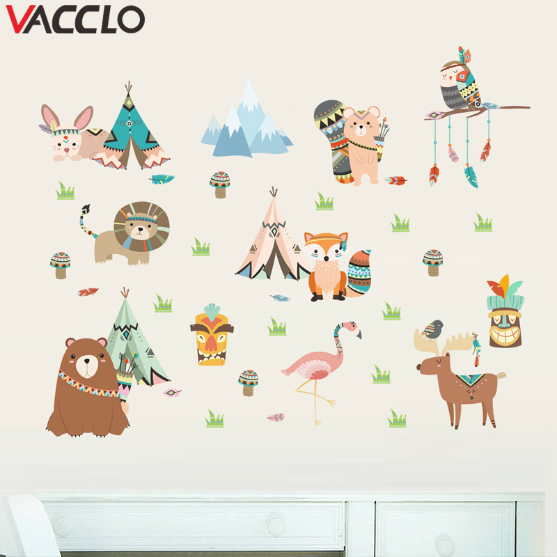 Vacclo Cartoon Animal Wall <font><b>Sticker</b></font> for Kids Rooms Wall Decals Living Room Bedroom Decoration Muursticker <font><b>Stickers</b></font> <font><b>Muraux</b></font> image