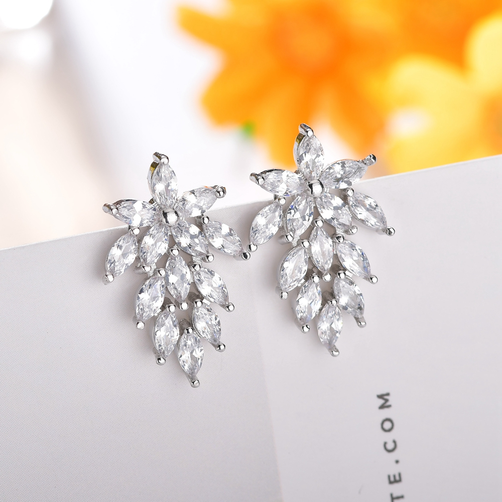 Fashion Marquise Cut Cubic Zirconia Flower Crystal Leaf Earrings for Women Silver Rose Shiny CZ Stone Bridal Wedding Jewelry