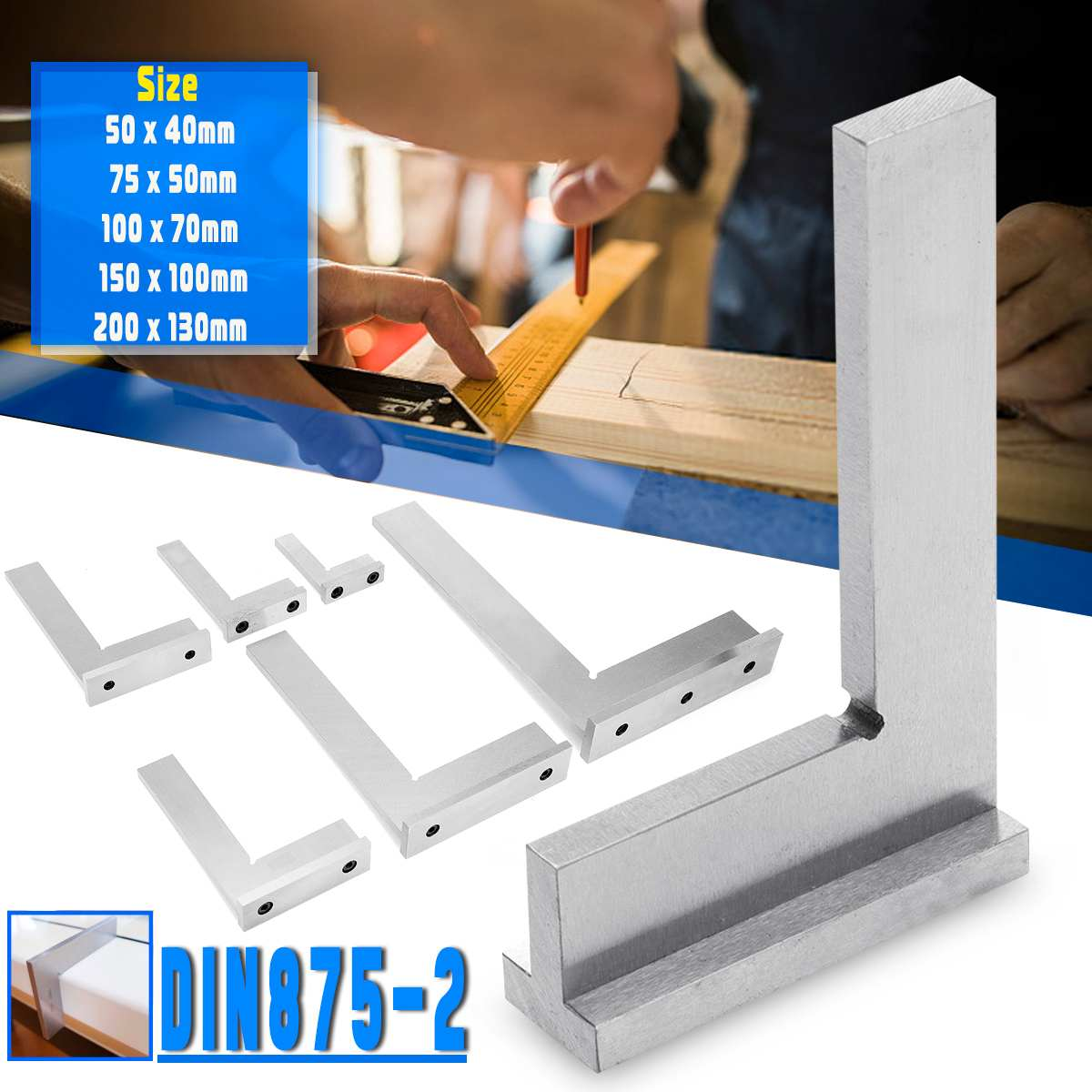 멀티 사이즈 50x 40mm ~ 200x130mm DIN875-2 등급 90 ° 정확도 각도 게이지 코너 기계공 사각형 눈금자 넓은베이스 측정 도구