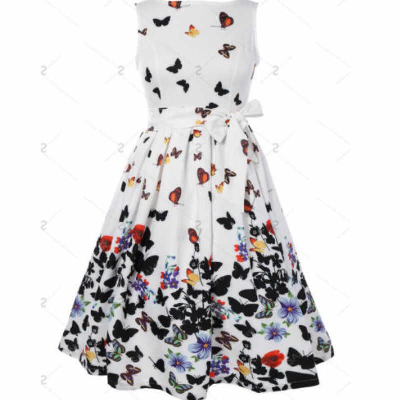 Mujeres verano Vintage vestido Formal sin mangas mariposa Casual fiesta cóctel Mini vestido