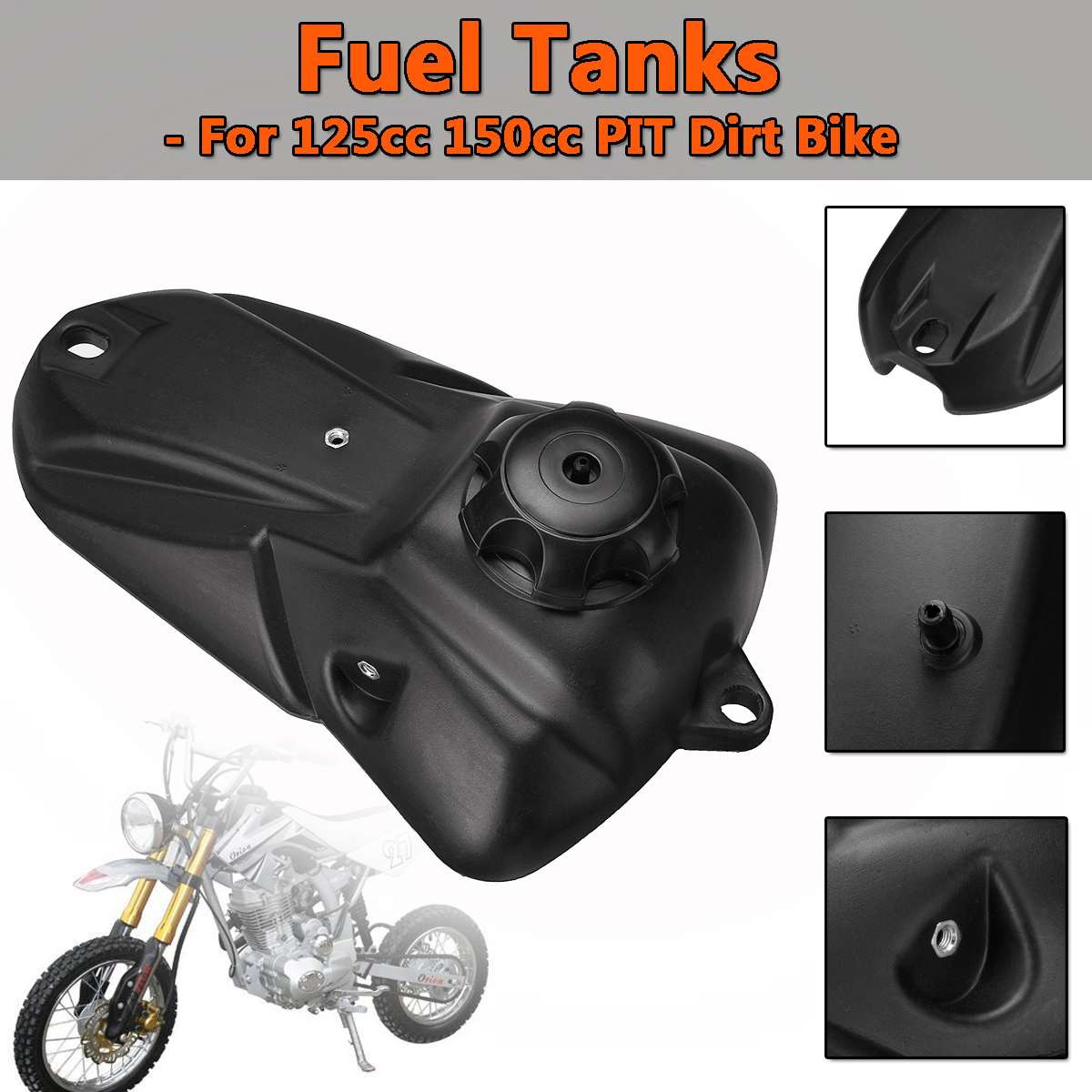 Motorcycle Fuel Tank For 125cc 150cc PIT PRO Trail Dirt Bike Black Gas Petrol Fuel Tanks With Cap New Minimotor Motocross