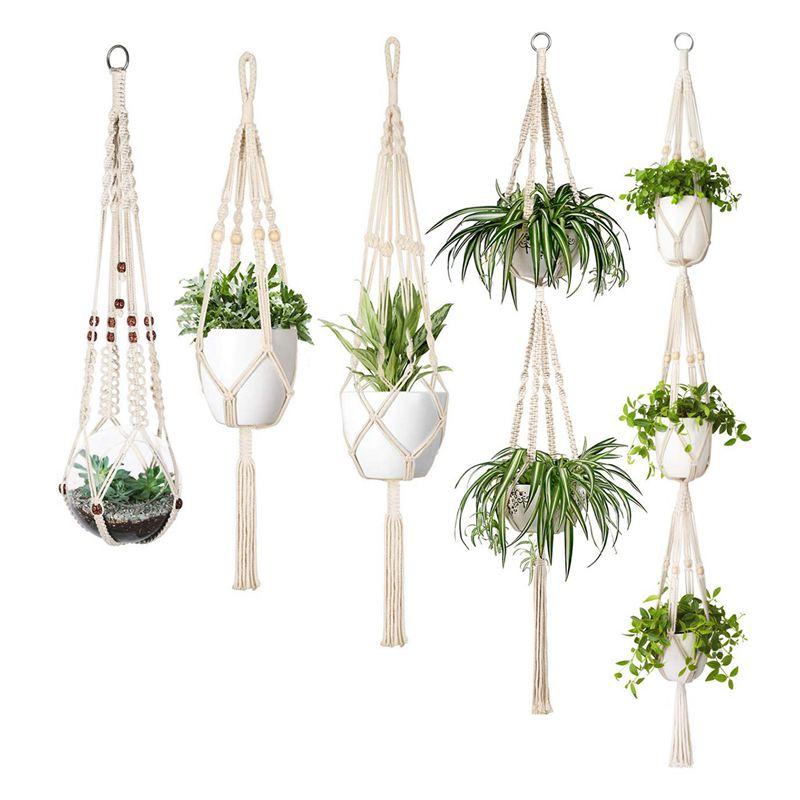 Glorieus Snny-macrame Plant Hanger Set Van 5 Indoor Muur Opknoping Planter Mand Bloempot Houder Boho Home Decor Warm En Winddicht
