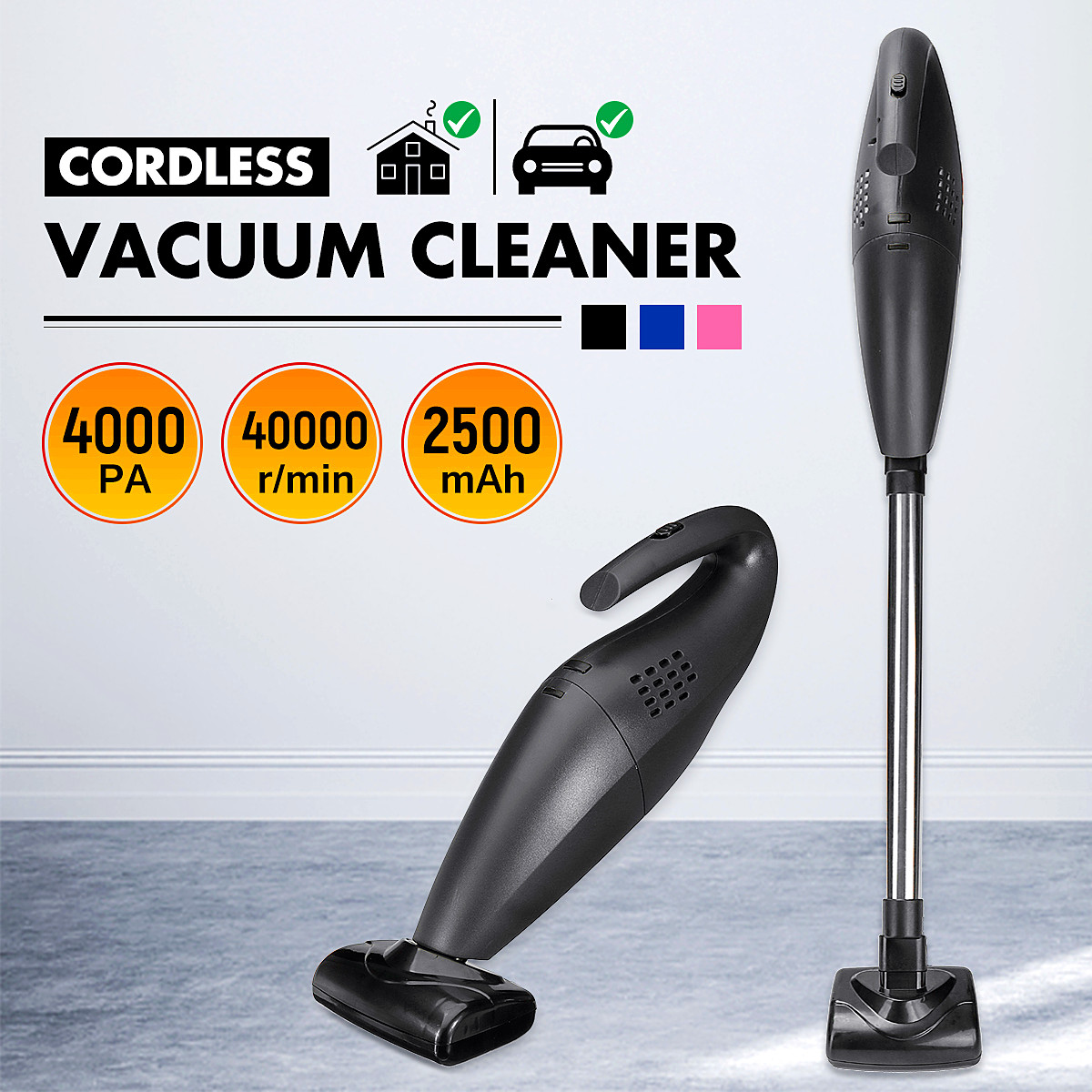 120W Handheld Wireless Vacuum Cleaner High Power Home Car Wet Dry Dual Use High Power Cleaning Machine Tool Extension Tube New