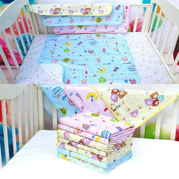 Cool Sleeping Cotton Newborns Mattress Developing Portable Folding Ecological Diaper Swaddling Washable Urine Mat Cover Stroller