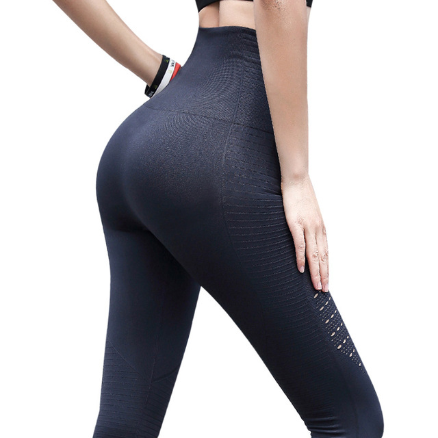 387ce8e5d6c New Style Super Stretchy Gym Hollow Seamless Jacquard Tights Slim Fitness  Yoga Pants High Waist Sport Leggings Running Pants