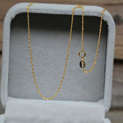 AU750 Pure Fine  18K Yellow Gold 1mm W Singapore Chain Necklace/ 1g / 17.3 Inch