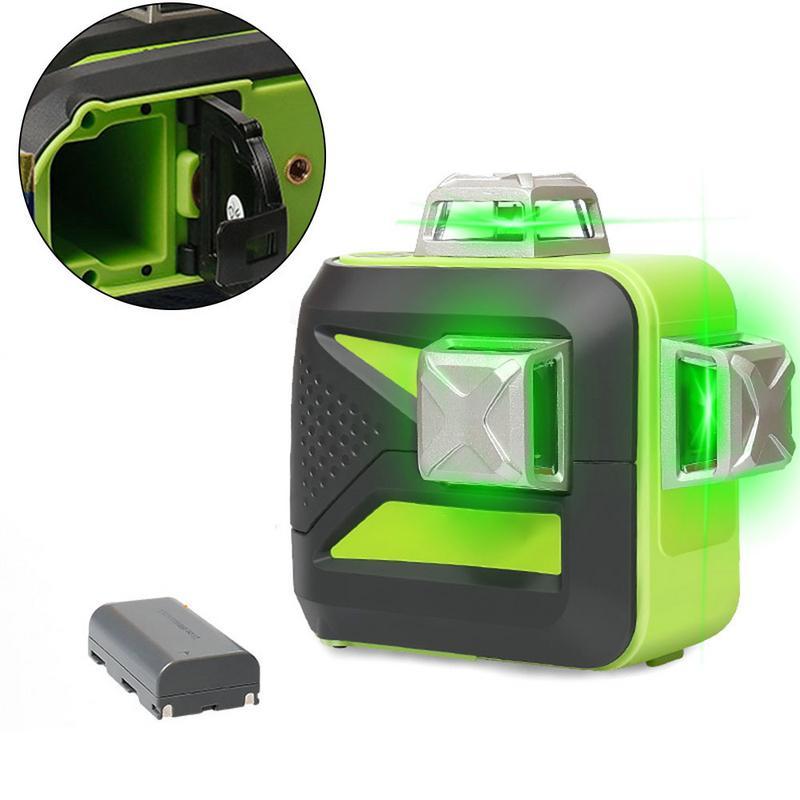 12 lignes 3D ligne transversale niveau Laser auto-nivelant 360 faisceau vert Vertical et Horizontal USB Charge utilisation batterie sèche et Li-ion