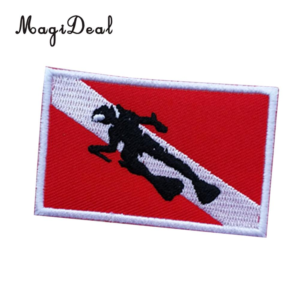 MagiDeal Scuba Diver Snorkeling Dive Flag Patch Backpack Bag Embroidered Iron On Emblem Souvenir For Swimming Diving Survial