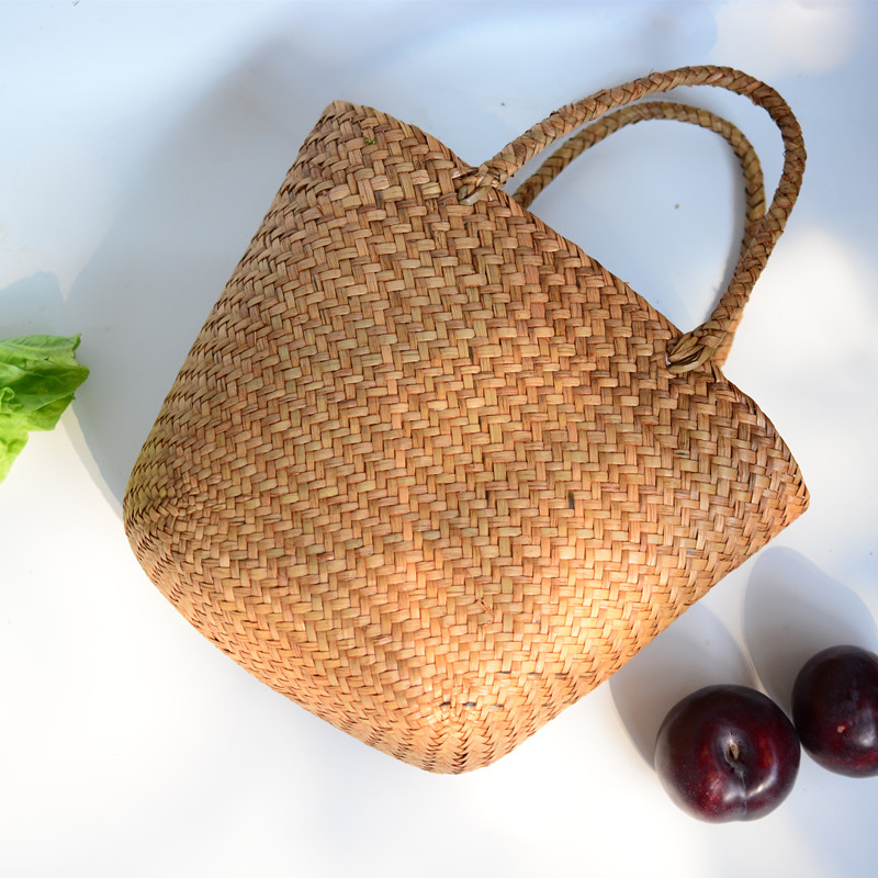 Casual Straw Bag Natural Wicker Tote Bags Women Braided Handbag For Garden Handmade Mini Woven Rattan Bags