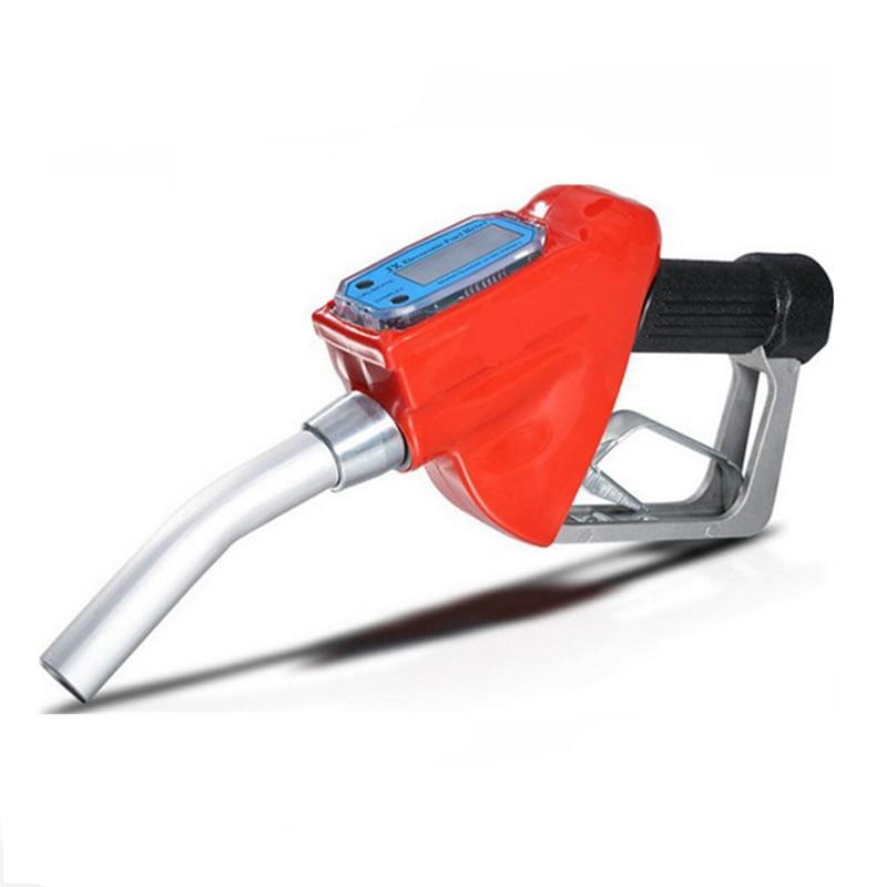 Digital Flow Meter Indicator Fuel Gasoline Petrol Oil Refueling Gun Nozzle Aluminum Gas Station Refuel Injection