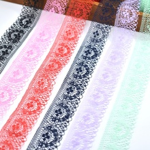 wholesale 10yards lace ribbon 40mm width african fabric white cotton trim DIY trimmings for sewing wedding accessories