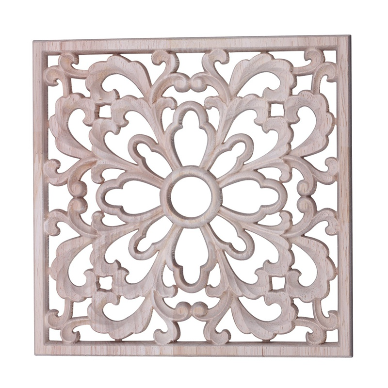 Vintage Wood Carved Decal Corner Onlay Applique Frame Furniture Wall Unpainted Home Cabinet Door Decor Crafts Square 20*20cm