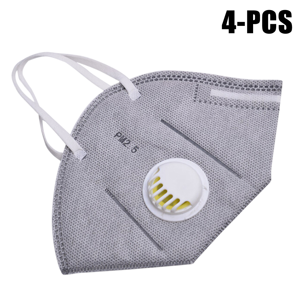 4pcs Cotton PM2.5 Anti Haze Mask Breath Valve Anti-Dust Mouth Mask Activated Carbon Filter Respirator Mouth-Muffle Face Mask