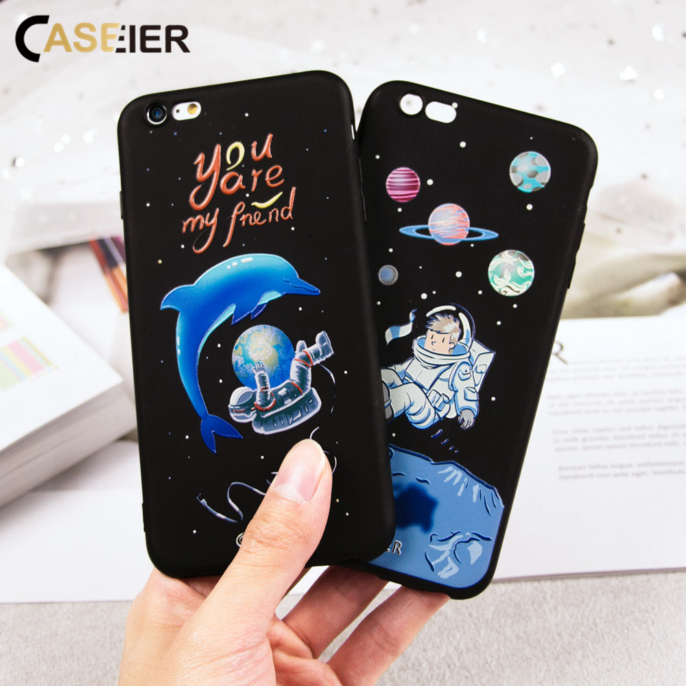 CASEIER Space Patterned Phone Case For iPhone 5 5s 6 7 8 Plus X Soft TPU Samsung S8 S9 Note S6 S7 Funda Coques