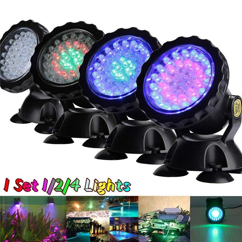 36 LED Unterwasser-Unterwasser-Spot-Licht f/ür Water Garden Pond Fish Tank Blau