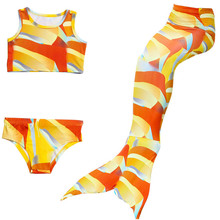 3PCS/Set New Children Mermaid Tails with Monofin Kids Girls Costumes Swimming Tail Swimsuit Flipper for girls