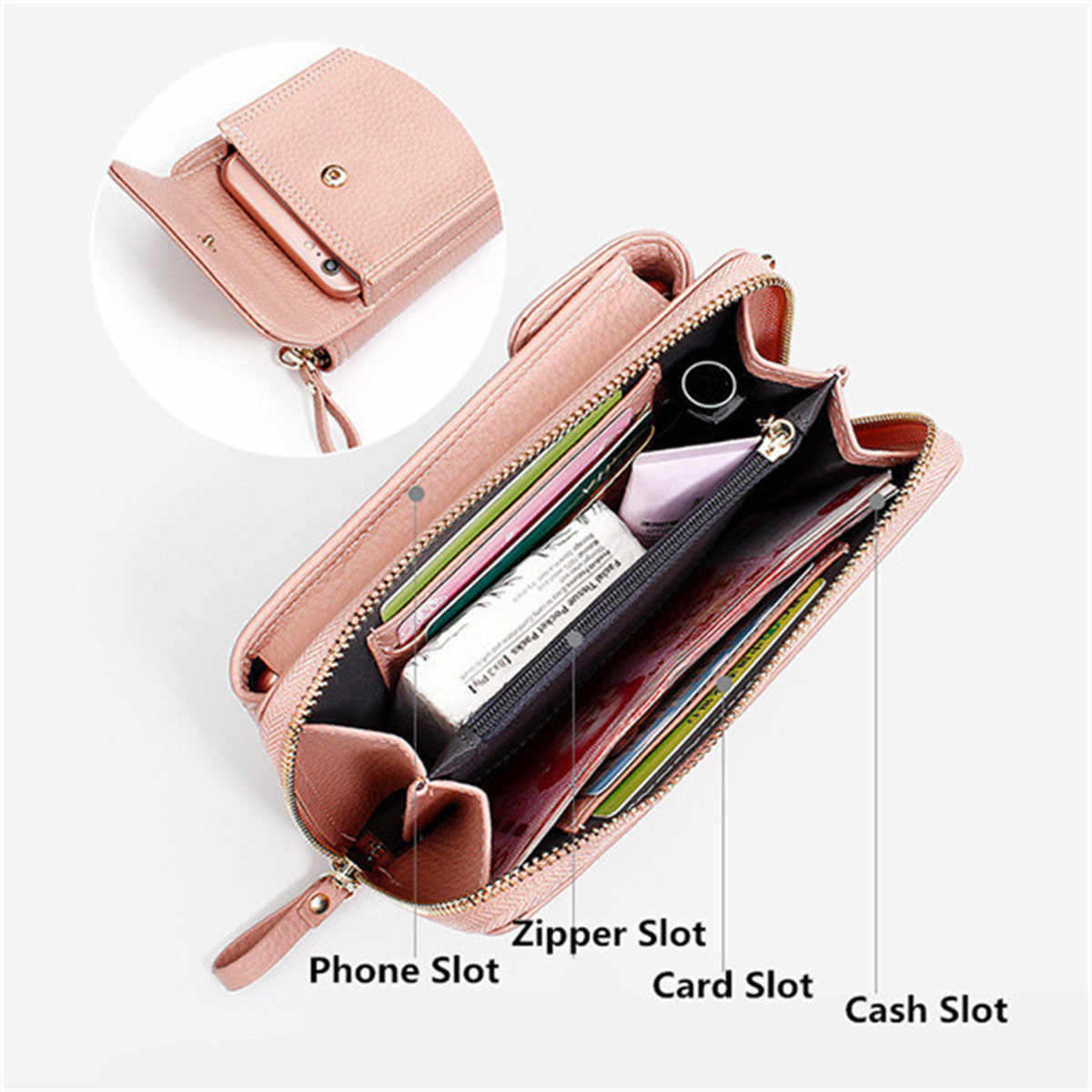 ... AEQUEEN Ladies Solid Faux leather Clutch Bag Small Crossbody Bag For  women Purses 4 Card Slot ... 6c3d3fca05