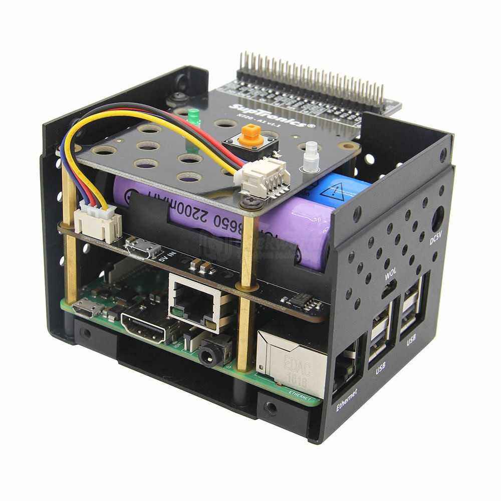 Raspberry Pi X720 Power Management Board Aluminum Case Kit,X720-A1 Metal Enclosure+Button+Adapter Plate for Raspberry Pi 3 B+/3B