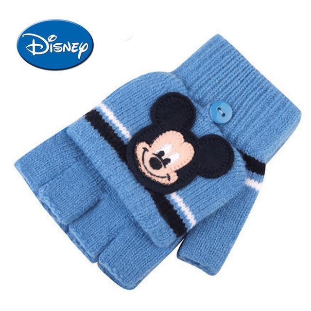ebedbdd7d1dda1 Disney Boys Mickey Cartoon Glove The Five Fingers Half Finger Winter Keep  Warm Pupil 5-12 Years