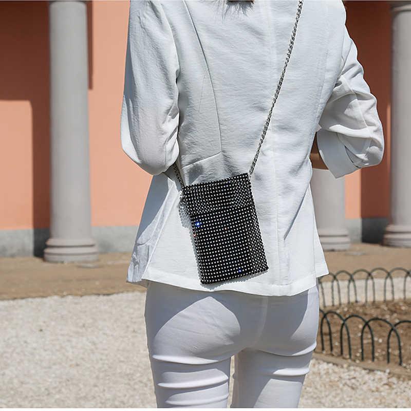 スーパーフラッシュ女性ショルダーバッグフルダイヤモンド女性クロスボディバッグチェーン対角線ハンドバッグ携帯電話レディー人格ミニバッグ