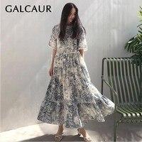 GALCAUR Vintage Print Women Dress O Neck Short Sleeve High Waist Hollow Out Big Size Ankle Length Dresses Female Summer Fashion