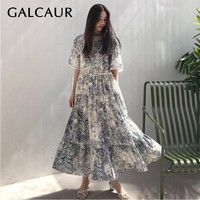 GALCAUR Vintage Print Women Dress O Neck Short Sleeve High Waist Hollow Out Big Size Ankle Length Dresses Female Summer Fashion
