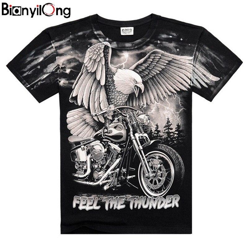 2019 Summer New Men's Personalized T-shirt Lightning Motorcycle Eagle 3D Printing T-shirt Fashion Short-sleeved T-shirt