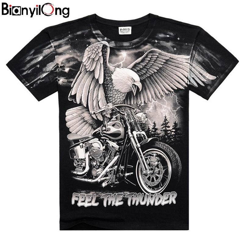 2019 verão novo masculino personalizado t-shirts lightning motocicleta águia 3d impressão camiseta moda curto-mangas compridas