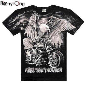 2020 summer new mens personalized T-shirt lightning motorcycle eagle 3D printing fashion short-sleeved