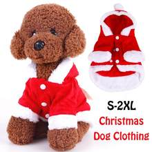 2018 New Year S-2XL Pet Dog Clothes Christmas Xmas Elk Coralline Costume Cute Cartoon Clothes For Small Dog Warm Cloat With Hat(China)