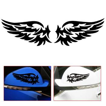 VODOOL 14x7cm Cartoon Guardian Angel Wings Car Stickers Reflective Auto Side Fender Rear View Mirror Motorcycle Decals Stickers image