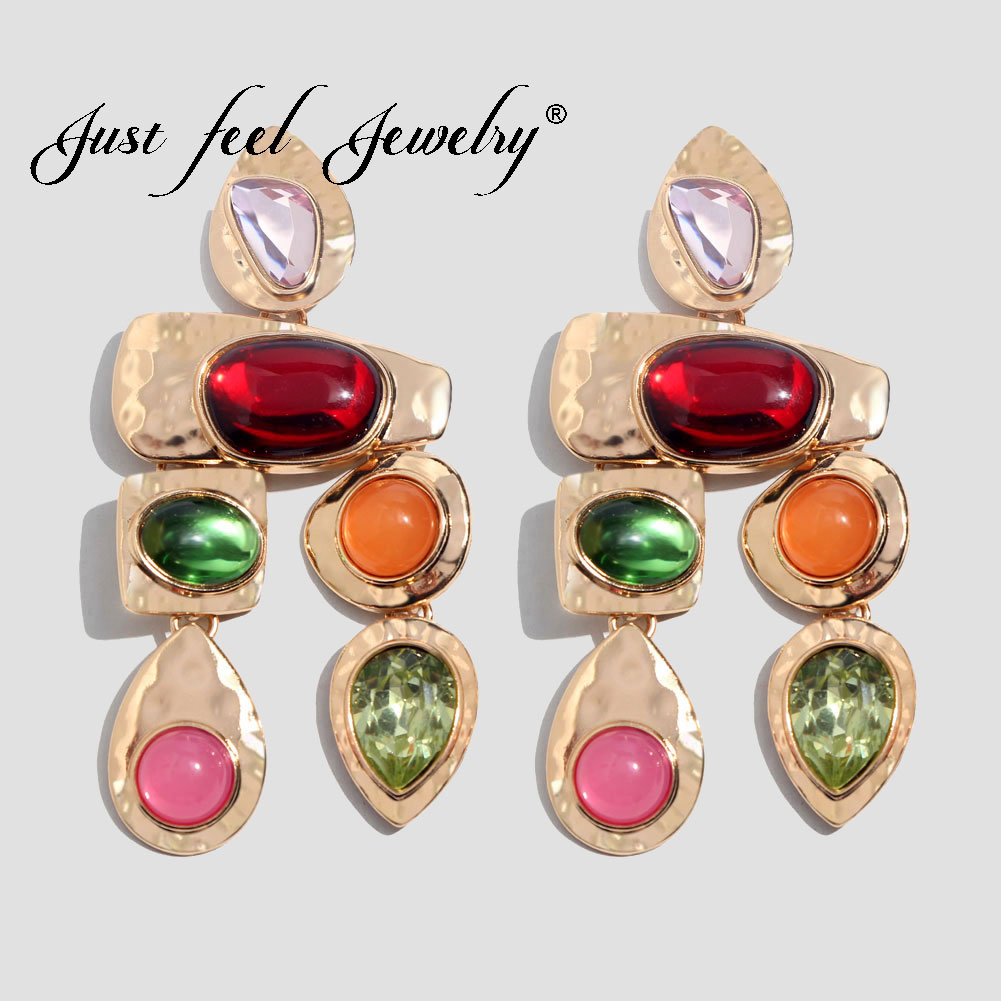 JUST FEEL ZA Boho Golden Big Dangle Earrings For Women Crystal Bead Vintage Geometric Heart Punk Statement Drop Earring Jewelry